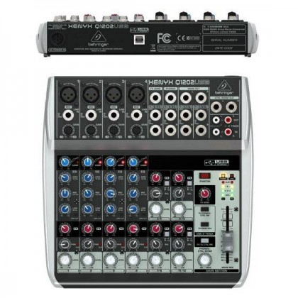 BEHRINGER XENYX Q1202USB Premium 12-Input 2-Bus Mixer with XENYX Mic Preamps & Compressors, British EQs and USB/Audio Interface