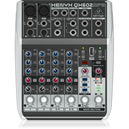 BEHRINGER XENYX QX602MP3 Premium 6-Input 2-Bus Mixer with XENYX Mic Preamps, British EQs, MP3 Player and Multi-FX