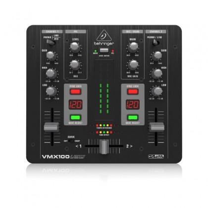 BEHRINGER VMX100USB Professional 2-Channel DJ Mixer with USB/Audio Interface, BPM Counter and VCA Control