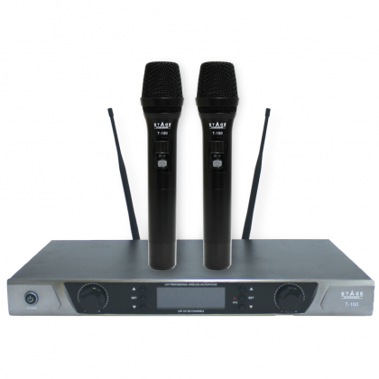 STAGE T-100 Dual Channel UHF Wireless Microphone System With 2 X Hand-Held Wireless Microphone (T100)